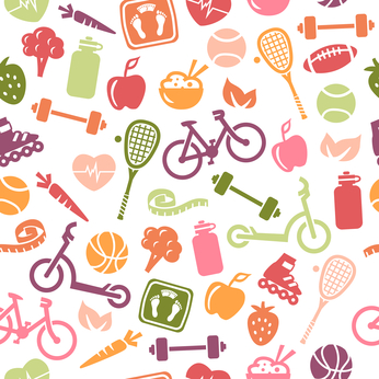 Healthy Lifestyle Seamless Pattern